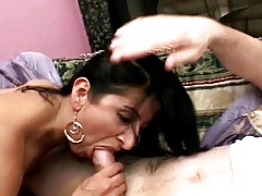 hairy latin milf pleases two..